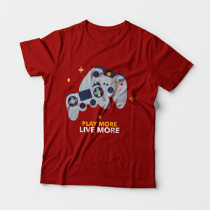 Play More Kid's Unisex Red Round Neck T-Shirt