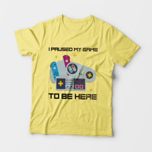 I Paused My Game Kid's Unisex Butter Yellow Round Neck T-Shirt