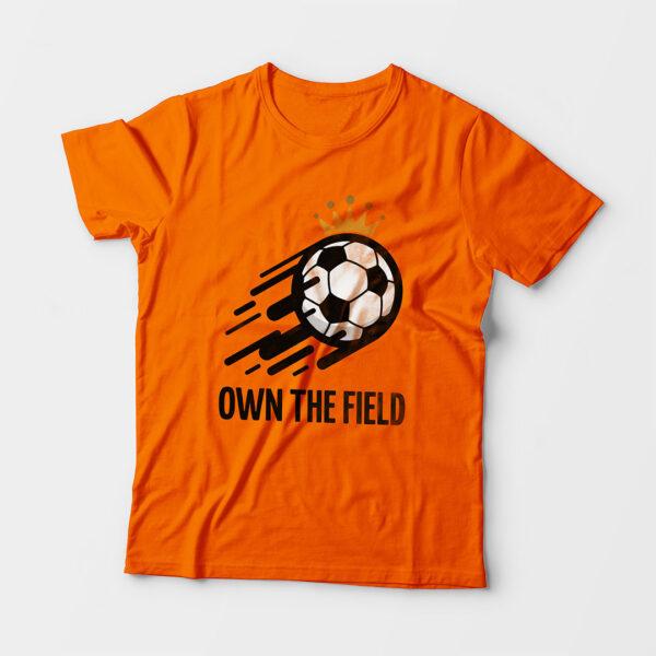 Own The Field Kid's Unisex Orange Round Neck T-Shirt