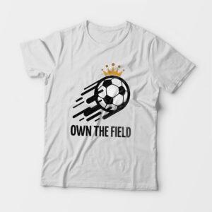 Own The Field Kid's Unisex White Round Neck T-Shirt