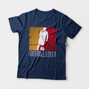 Football Lover Kid's Unisex Navy Blue Round Neck T-Shirt