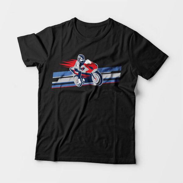 Biker Kid's Unisex Black Round Neck T-Shirt