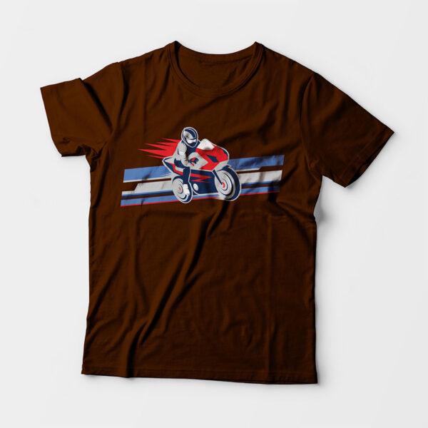 Biker Kid's Unisex Coffee Brown Round Neck T-Shirt