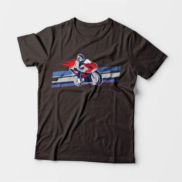 Biker Kid's Unisex Charcoal Grey Round Neck T-Shirt