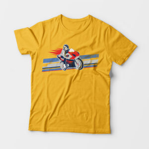 Biker Kid's Unisex Golden Yellow Round Neck T-Shirt
