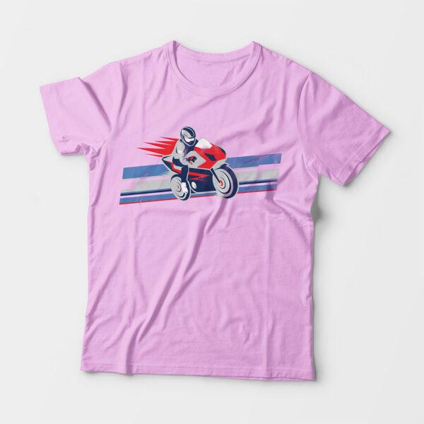 Biker Kid's Unisex Light Pink Round Neck T-Shirt