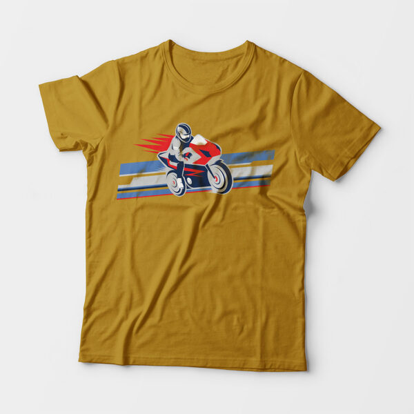 Biker Kid's Unisex Mustard Yellow Round Neck T-Shirt