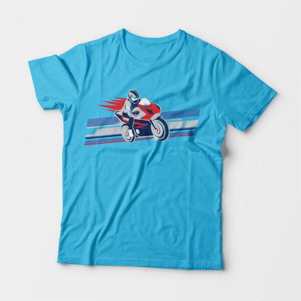 Biker Kid's Unisex Sky Blue Round Neck T-Shirt