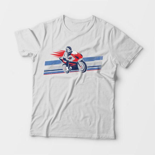 Biker Kid's Unisex White Round Neck T-Shirt
