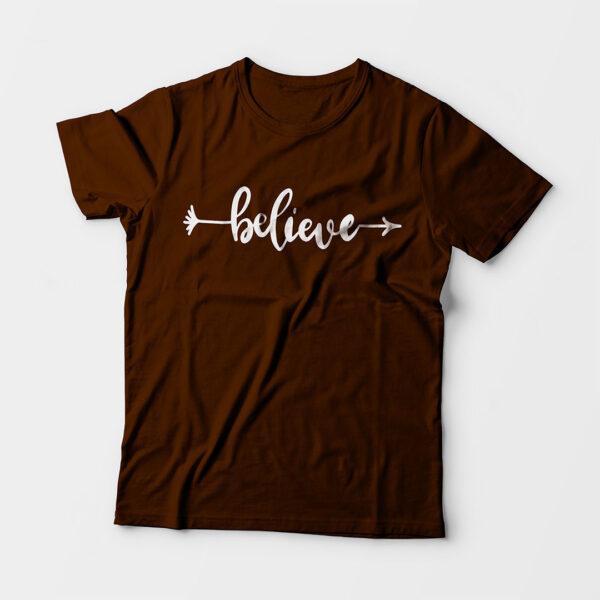 Believe Kid's Unisex Coffee Brown Round Neck T-Shirt