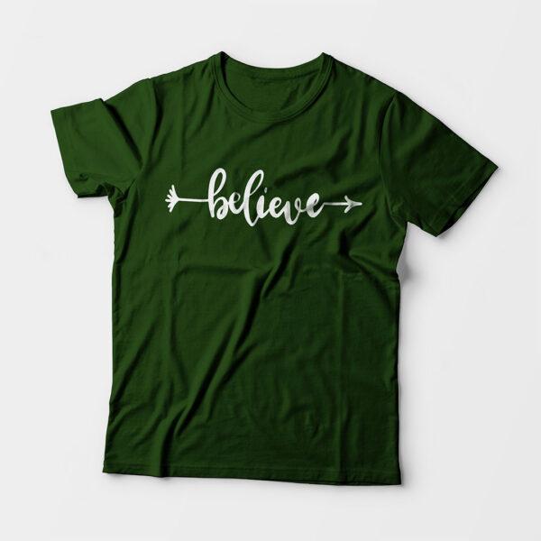 Believe Kid's Unisex Olive Green Round Neck T-Shirt