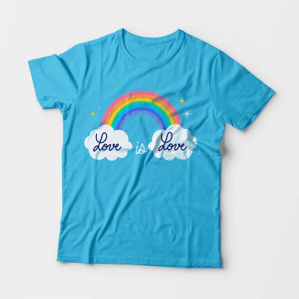 Love Is Love Kid's Unisex Sky Blue Round Neck T-Shirt