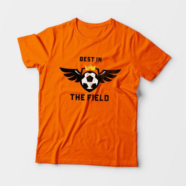 Best in the Field Kid's Unisex Orange Round Neck T-Shirt