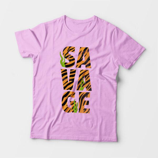 Savage Kid's Unisex Light Pink Round Neck T-Shirt