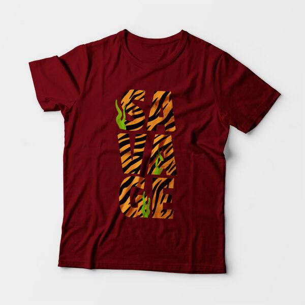 Savage Kid's Unisex Maroon Round Neck T-Shirt