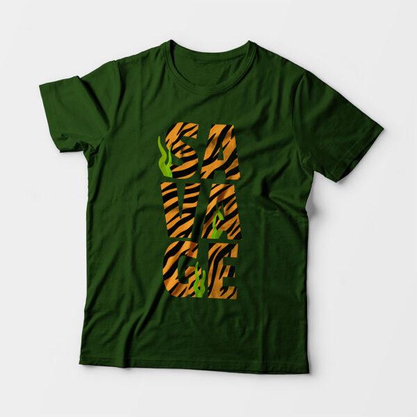Savage Kid's Unisex Olive Green Round Neck T-Shirt