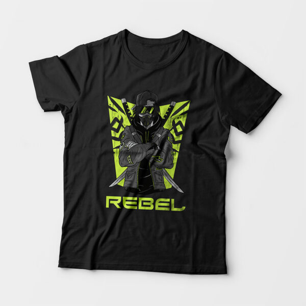 Rebel Kid's Unisex Black Round Neck T-Shirt