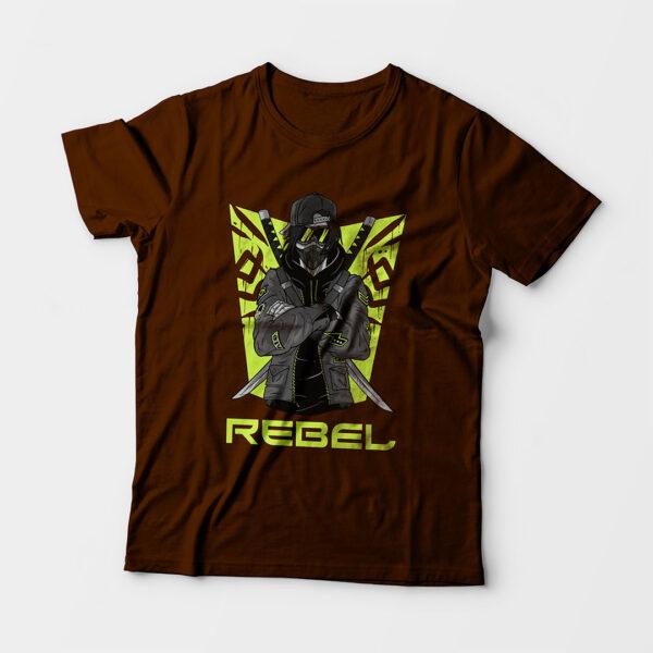 Rebel Kid's Unisex Coffee Brown Round Neck T-Shirt