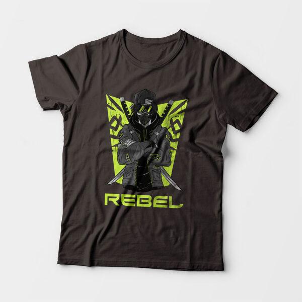 Rebel Kid's Unisex Charcoal Grey Round Neck T-Shirt