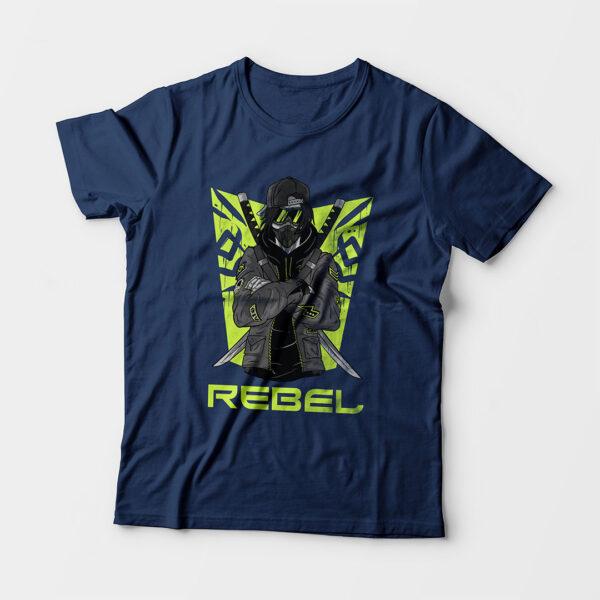 Rebel Kid's Unisex Navy Blue Round Neck T-Shirt