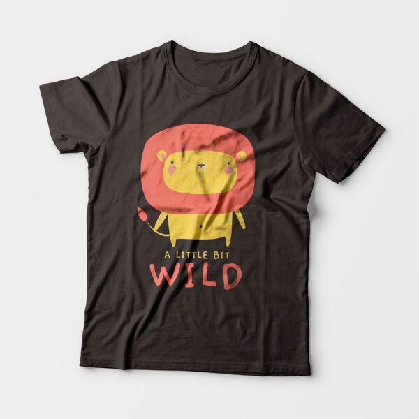 Wild Charcoal Grey Kid's Unisex Round Neck T-Shirt