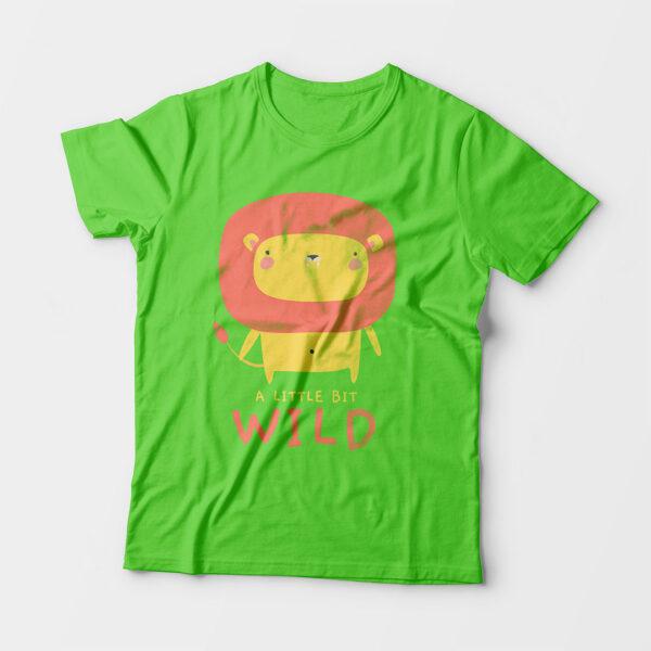 Wild Liril Green Kid's Unisex Round Neck T-Shirt