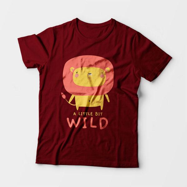 Wild Maroon Kid's Unisex Round Neck T-Shirt