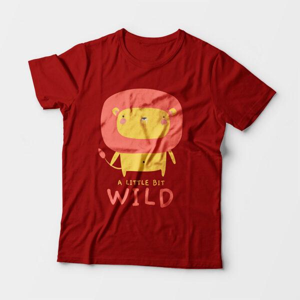 Wild Red Kid's Unisex Round Neck T-Shirt