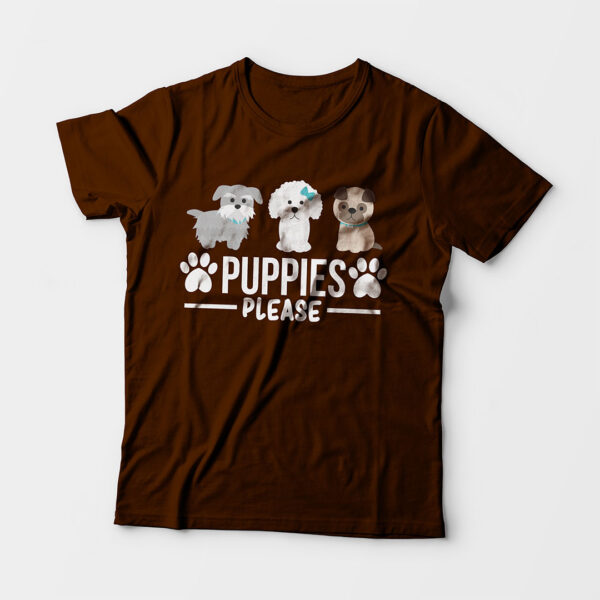 Puppies Please Kid's Unisex Coffee Brown Round Neck T-Shirt