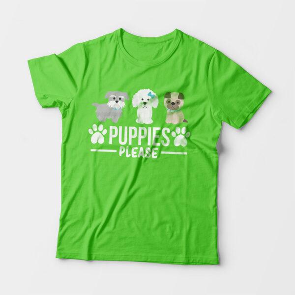 Puppies Please Kid's Unisex Liril Green Round Neck T-Shirt