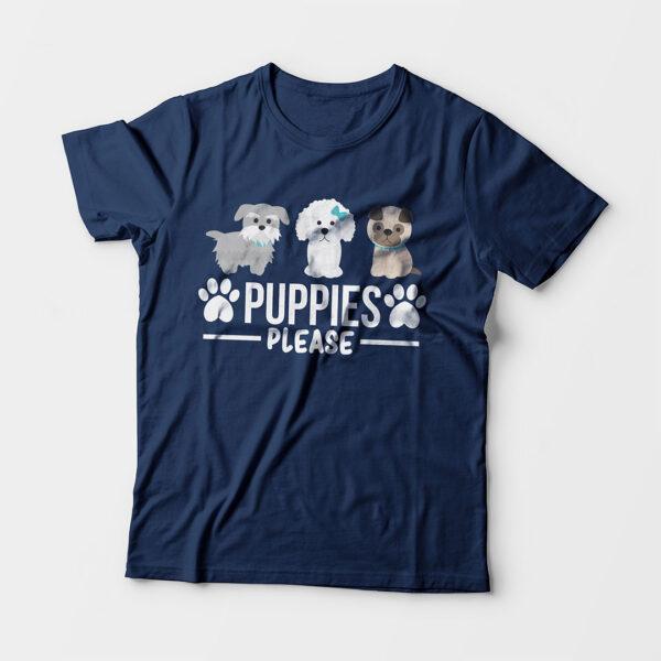 Puppies Please Kid's Unisex Navy Blue Round Neck T-Shirt