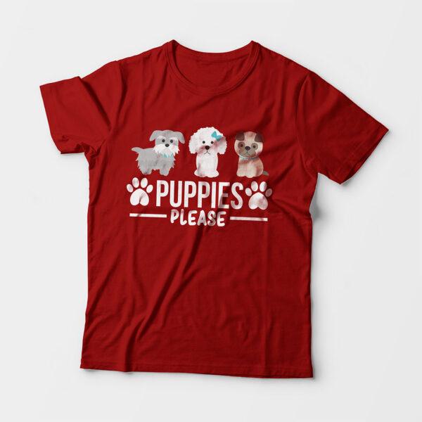 Puppies Please Kid's Unisex Red Round Neck T-Shirt