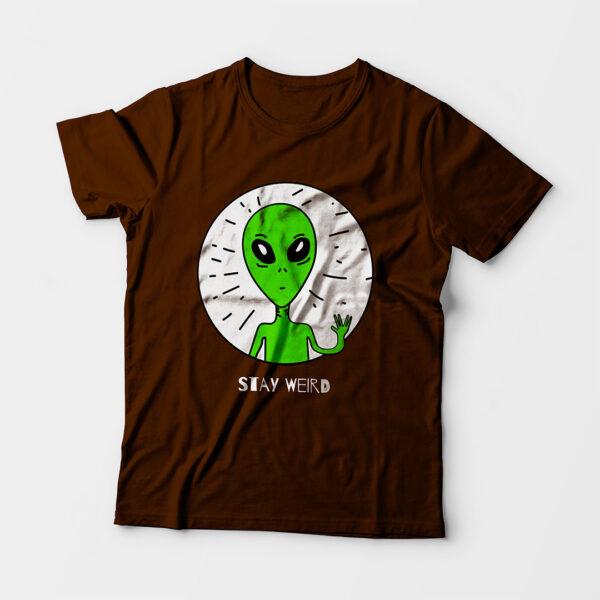 Stay Weird Kid's Unisex Coffee Brown Round Neck T-Shirt