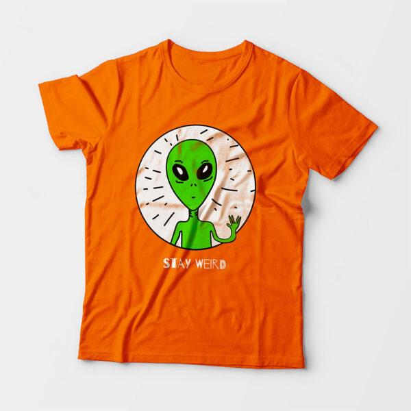 Stay Weird Kid's Unisex Orange Round Neck T-Shirt