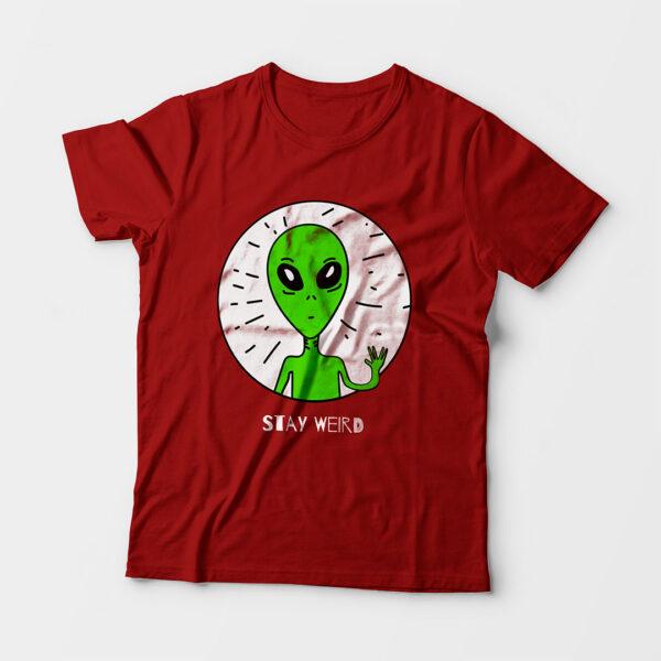 Stay Weird Kid's Unisex Red Round Neck T-Shirt