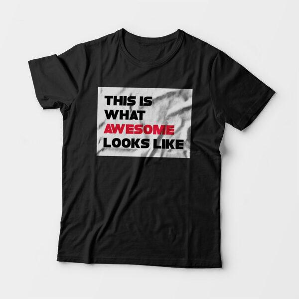 Awesome Kid's Unisex Black Round Neck T-Shirt