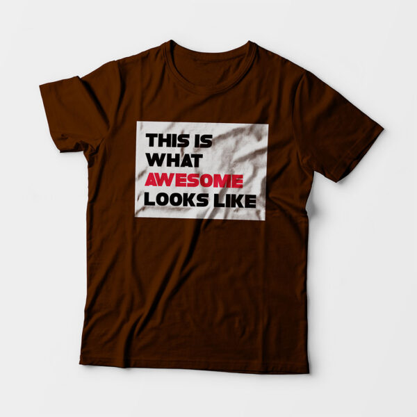 Awesome Kid's Unisex Coffee Brown Round Neck T-Shirt