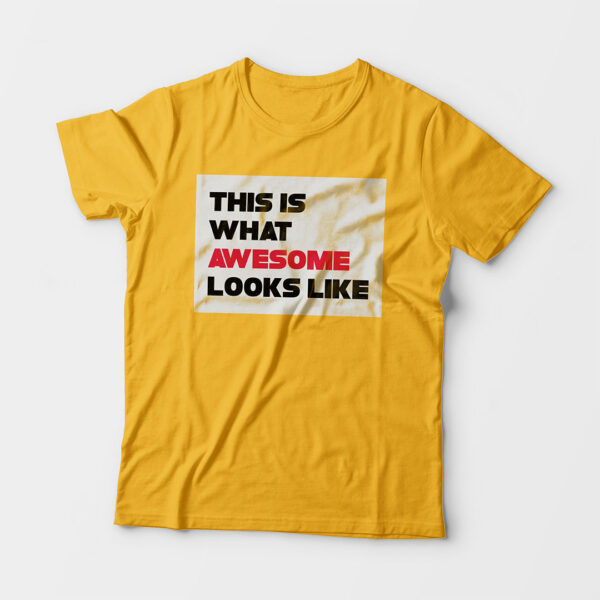 Awesome Kid's Unisex Golden Yellow Round Neck T-Shirt