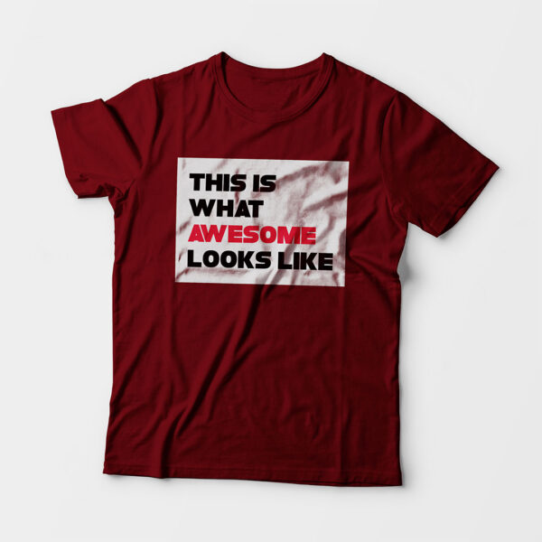 Awesome Kid's Unisex Maroon Round Neck T-Shirt