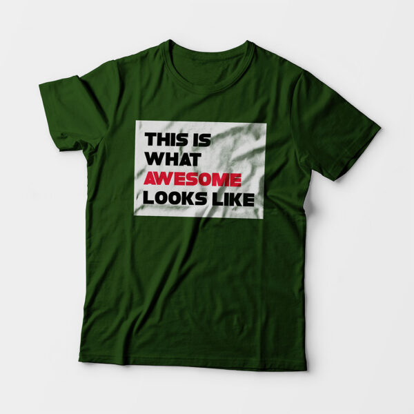 Awesome Kid's Unisex Olive Green Round Neck T-Shirt