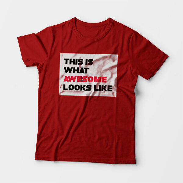 Awesome Kid's Unisex Red Round Neck T-Shirt