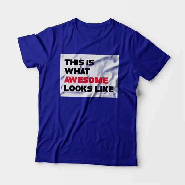 Awesome Kid's Unisex Royal Blue Round Neck T-Shirt