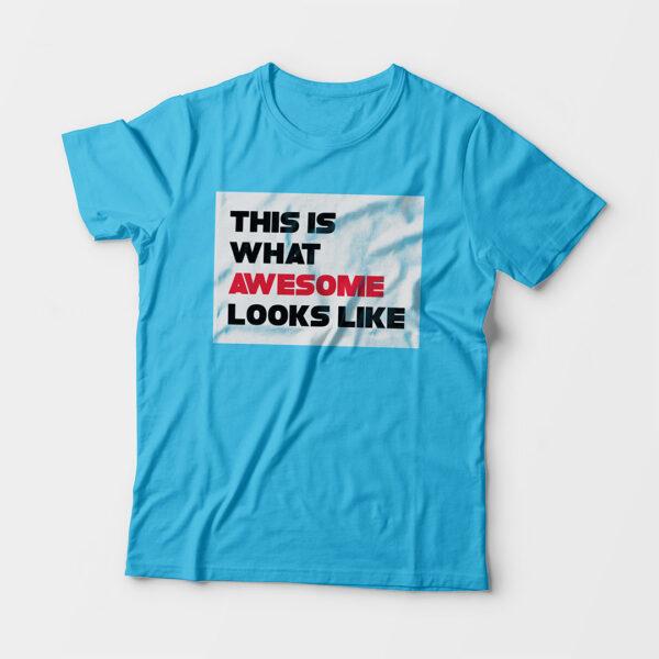 Awesome Kid's Unisex Sky Blue Round Neck T-Shirt