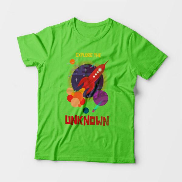 Explore The Unknown Kid's Unisex Liril Green Round Neck T-Shirt