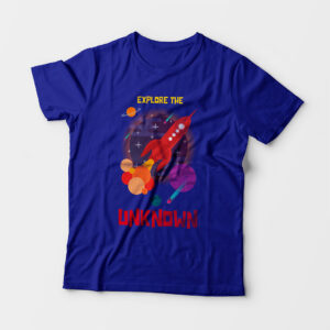 Explore The Unknown Kid's Unisex Royal Blue Round Neck T-Shirt