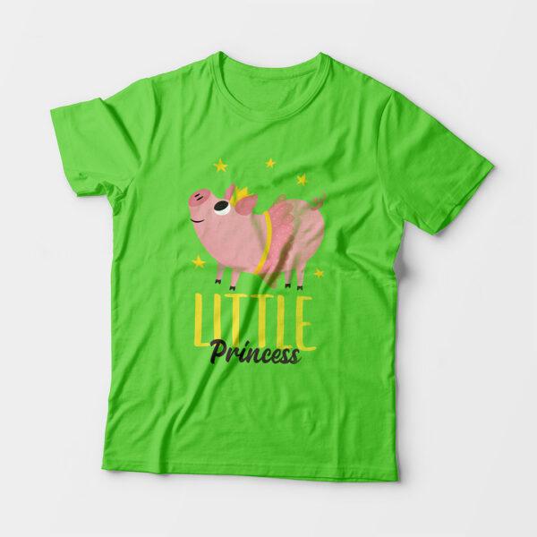 Little Princess Kid's Unisex Liril Green Round Neck T-Shirt