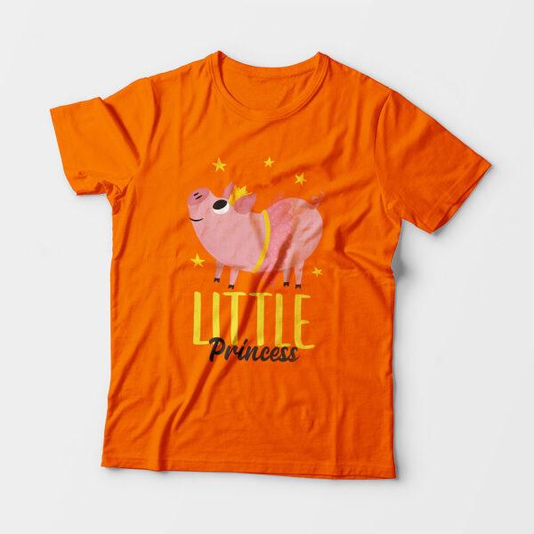 Little Princess Kid's Unisex Orange Round Neck T-Shirt