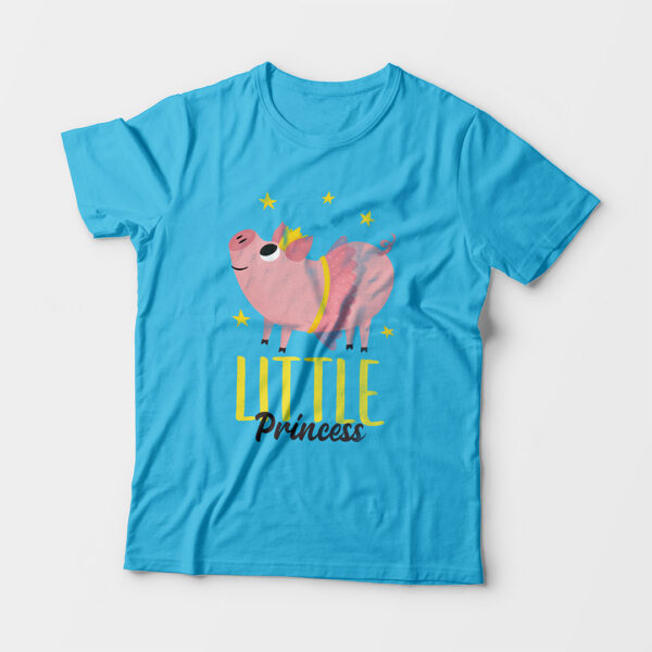 Little Princess Kid's Unisex Sky Blue Round Neck T-Shirt