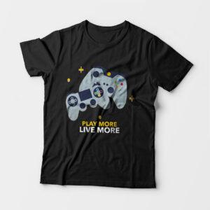 Play More Kid's Unisex Black Round Neck T-Shirt
