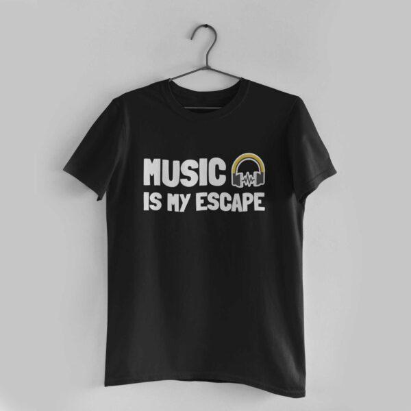 Music Is My Escape Black Round Neck T-Shirt